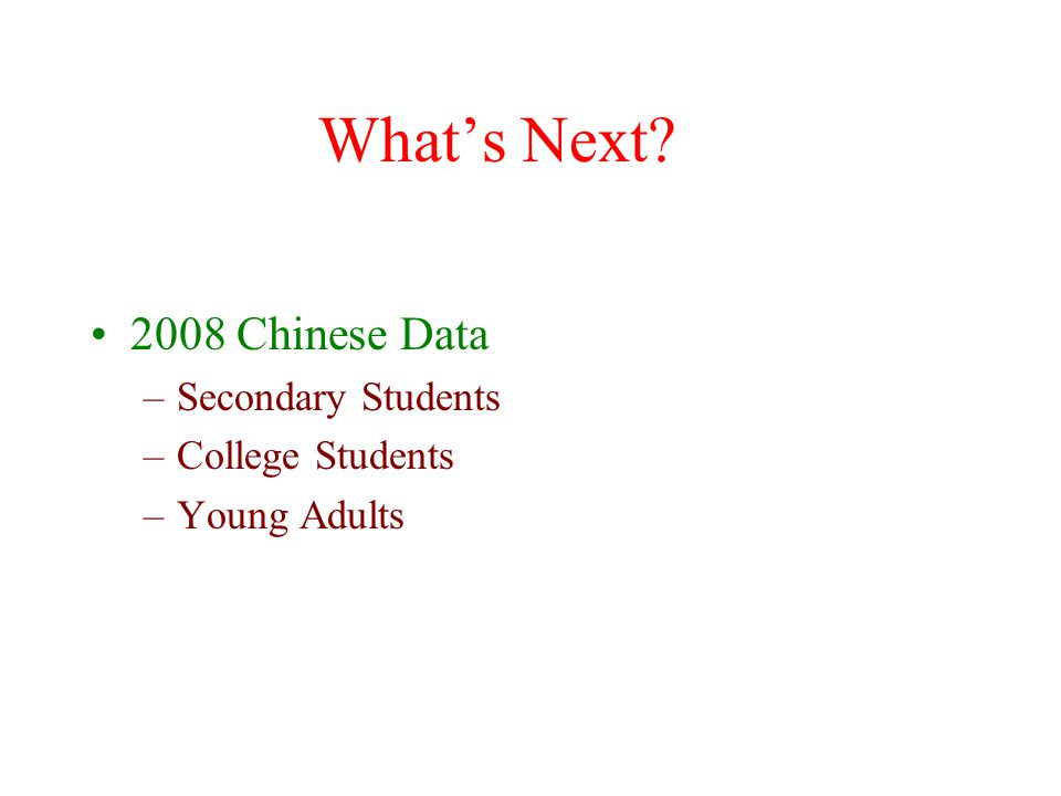What's Next 2008 Chinese Data Secondary Students College Students