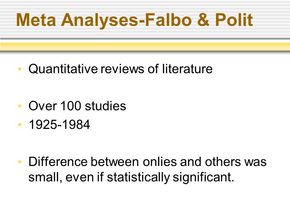 Meta Analyses-Falbo & Polit