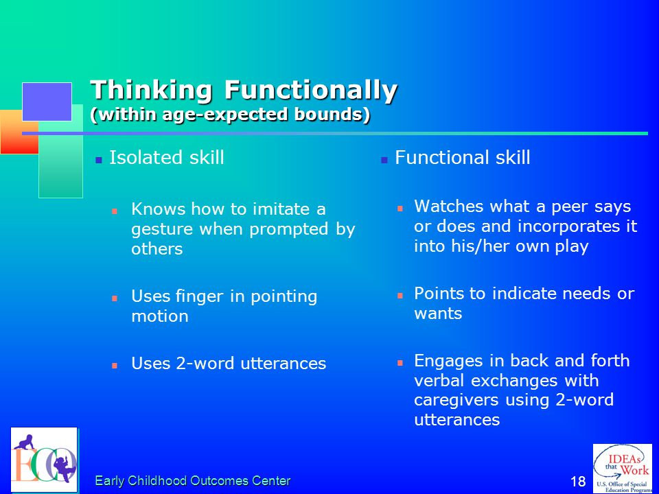 Thinking Functionally (within age-expected bounds)