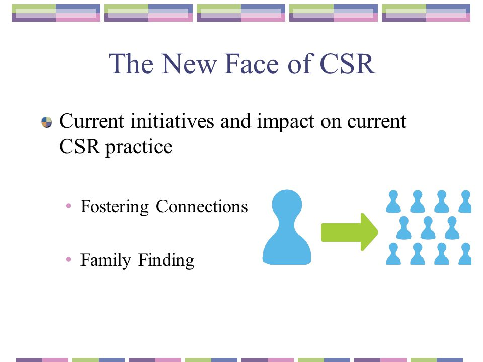 The New Face of CSR Current initiatives and impact on current CSR practice. Fostering Connections.