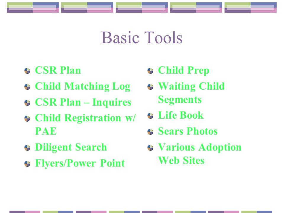 Basic Tools CSR Plan Child Matching Log CSR Plan – Inquires