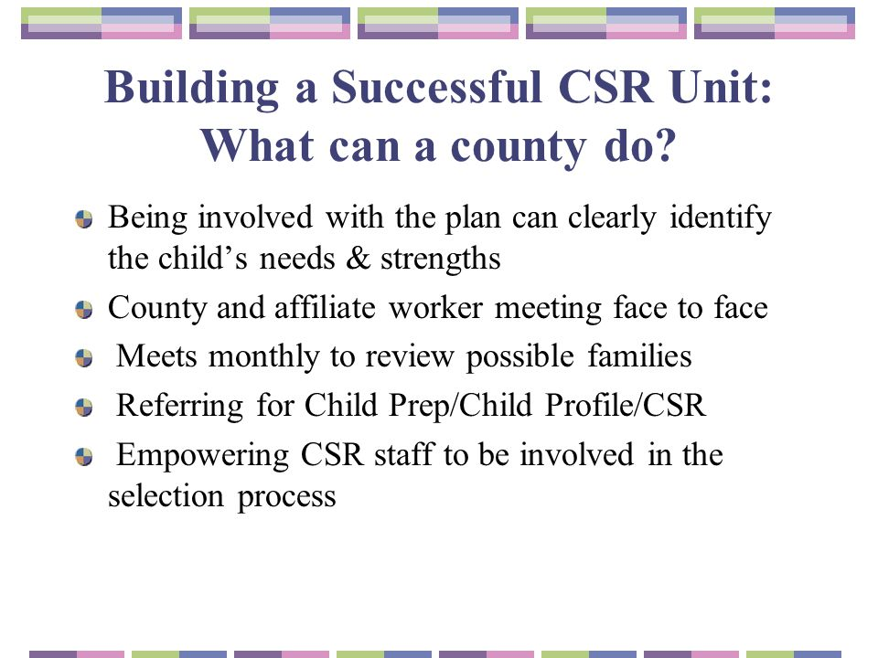 Building a Successful CSR Unit: What can a county do