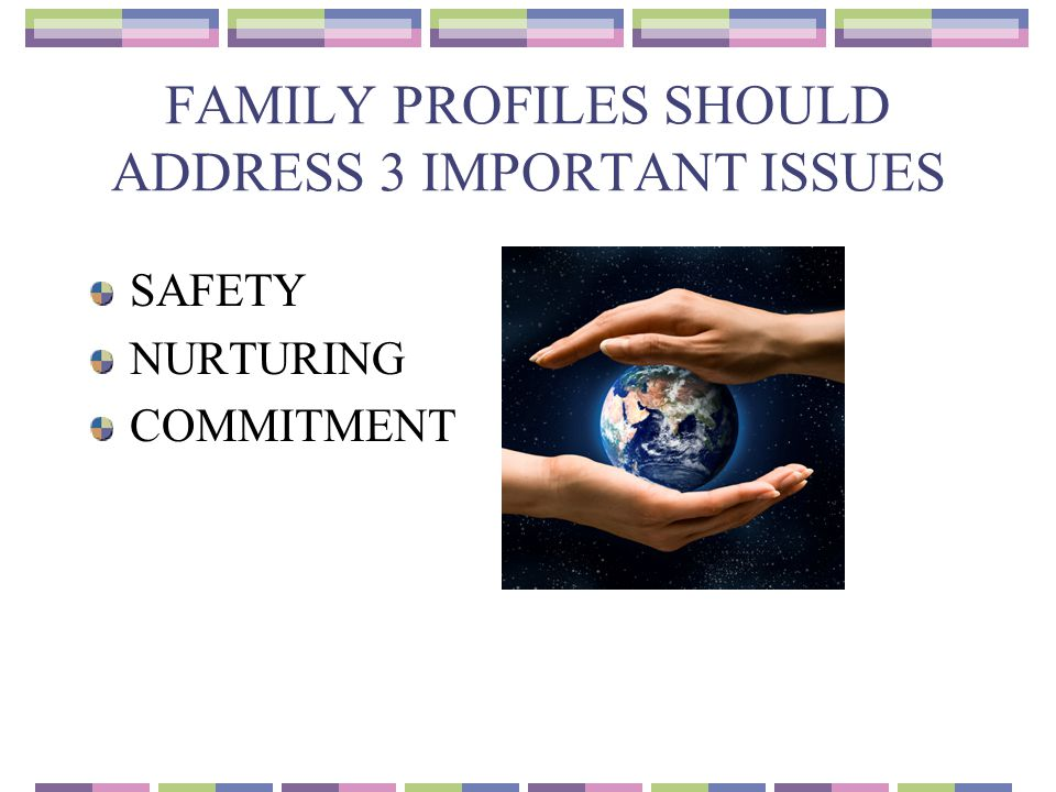 FAMILY PROFILES SHOULD ADDRESS 3 IMPORTANT ISSUES