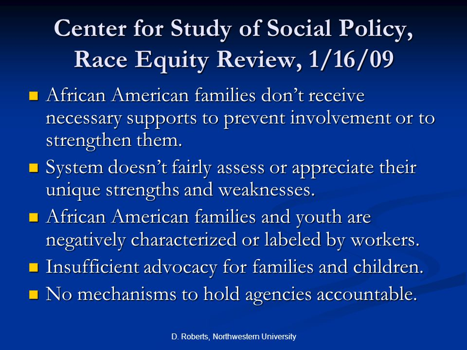 Center for Study of Social Policy, Race Equity Review, 1/16/09