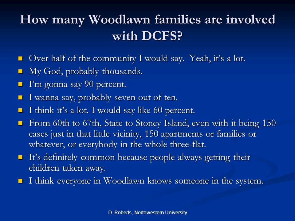 How many Woodlawn families are involved with DCFS