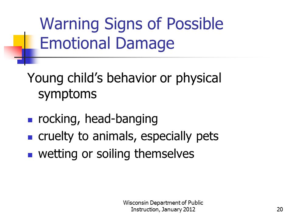 Warning Signs of Possible Emotional Damage