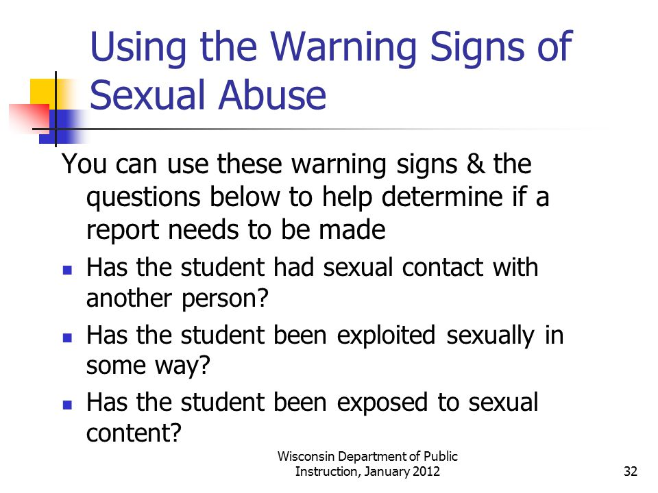 Using the Warning Signs of Sexual Abuse