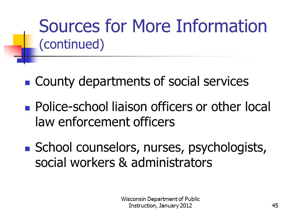 Sources for More Information (continued)