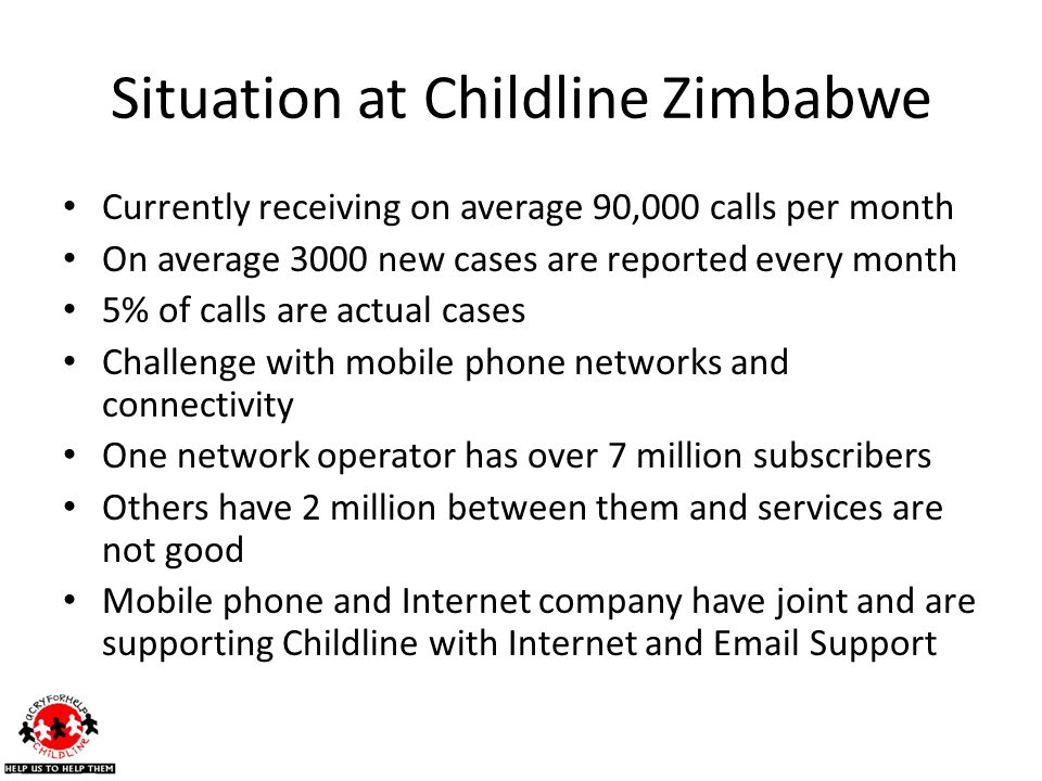 Situation at Childline Zimbabwe