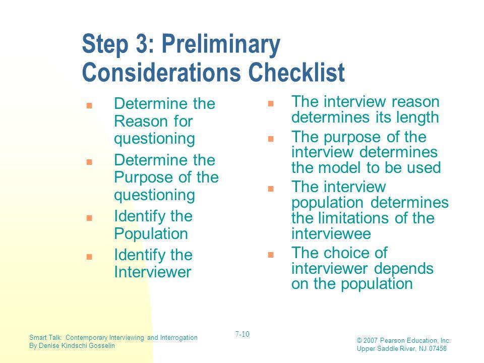 Step 3: Preliminary Considerations Checklist