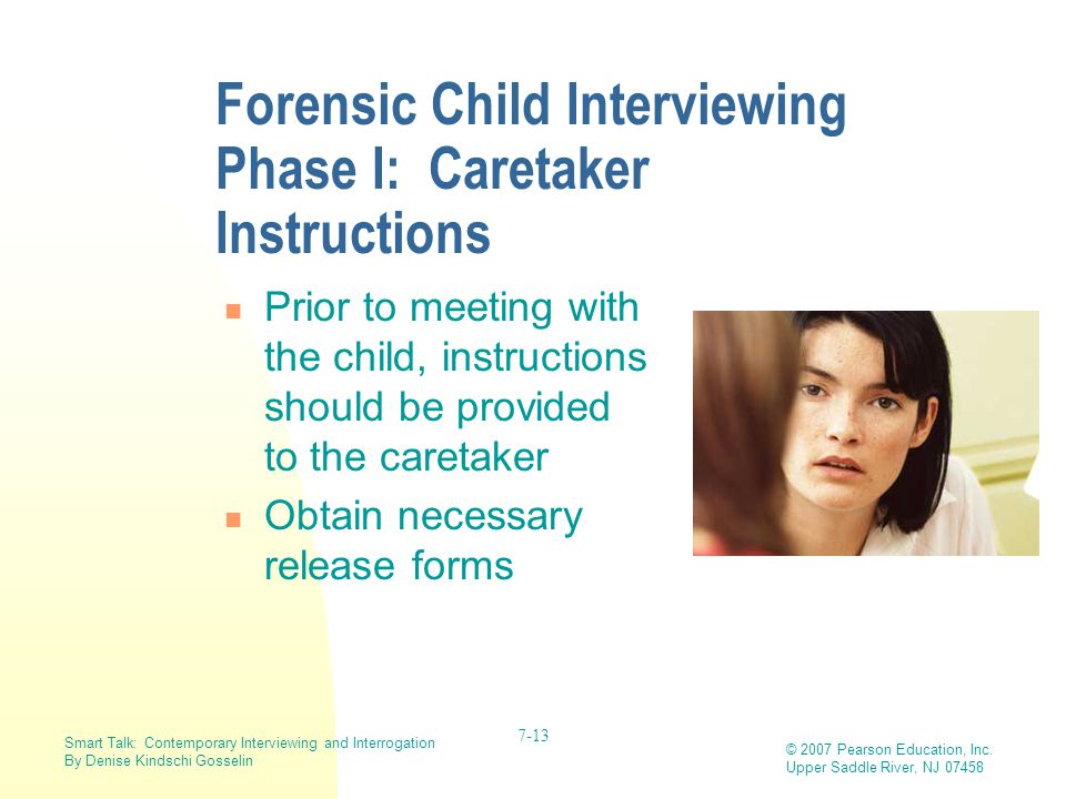Forensic Child Interviewing Phase I: Caretaker Instructions