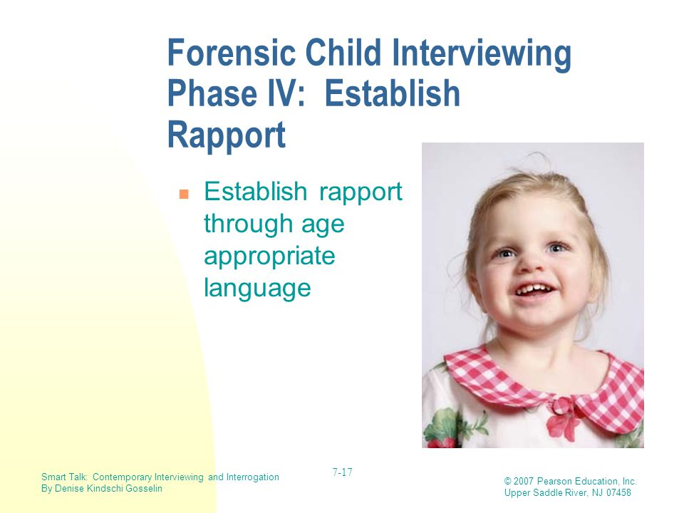 Forensic Child Interviewing Phase IV: Establish Rapport