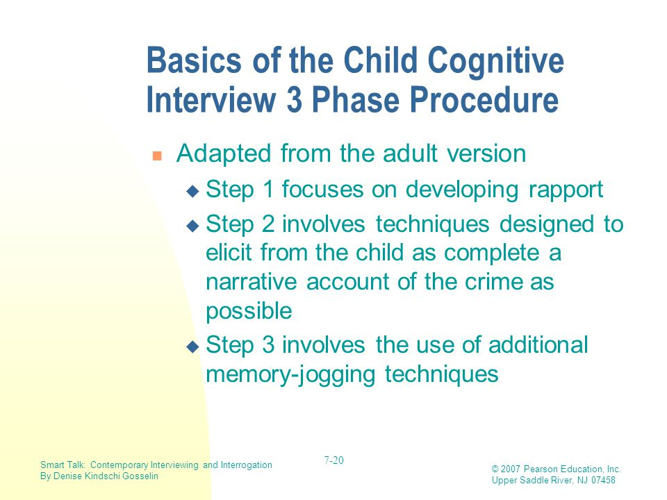 Basics of the Child Cognitive Interview 3 Phase Procedure