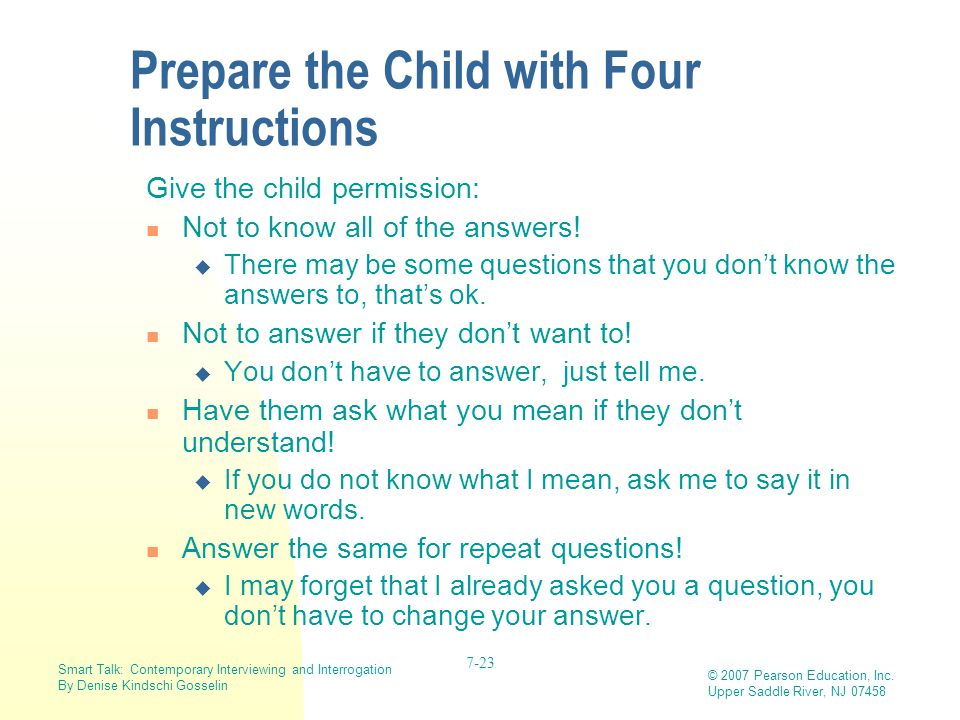 Prepare the Child with Four Instructions