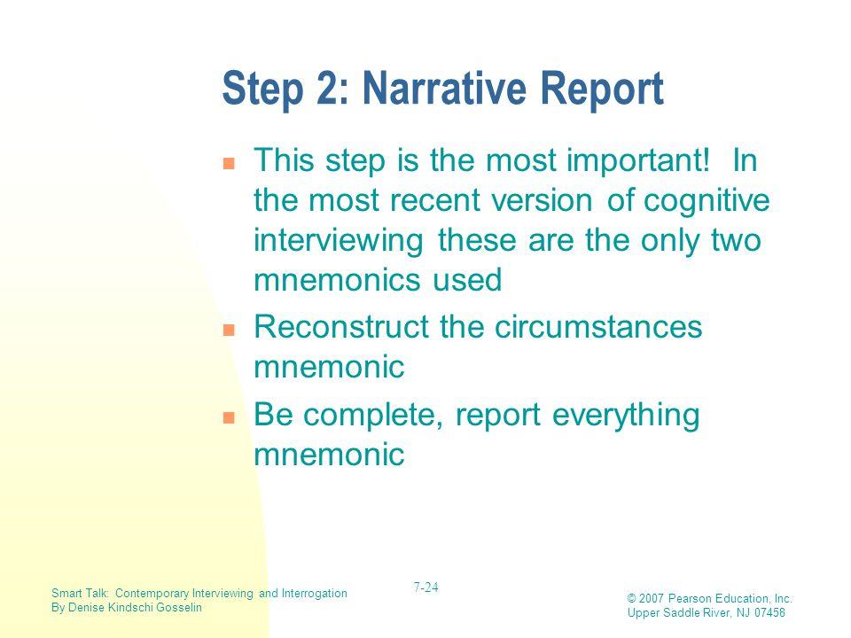 Step 2: Narrative Report