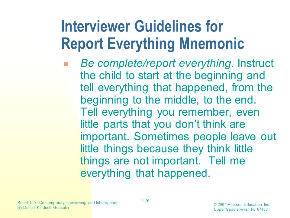 Interviewer Guidelines for Report Everything Mnemonic