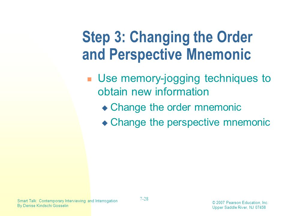 Step 3: Changing the Order and Perspective Mnemonic