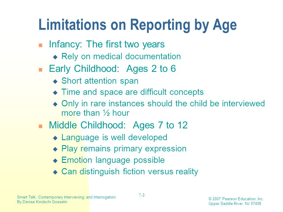 Limitations on Reporting by Age