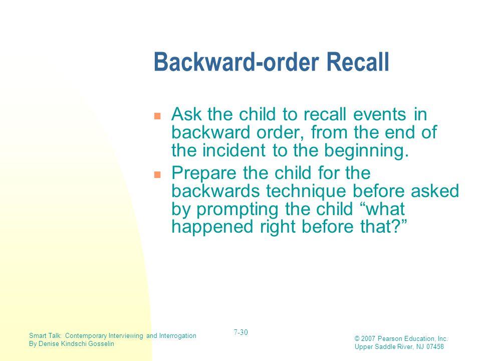 Backward-order Recall