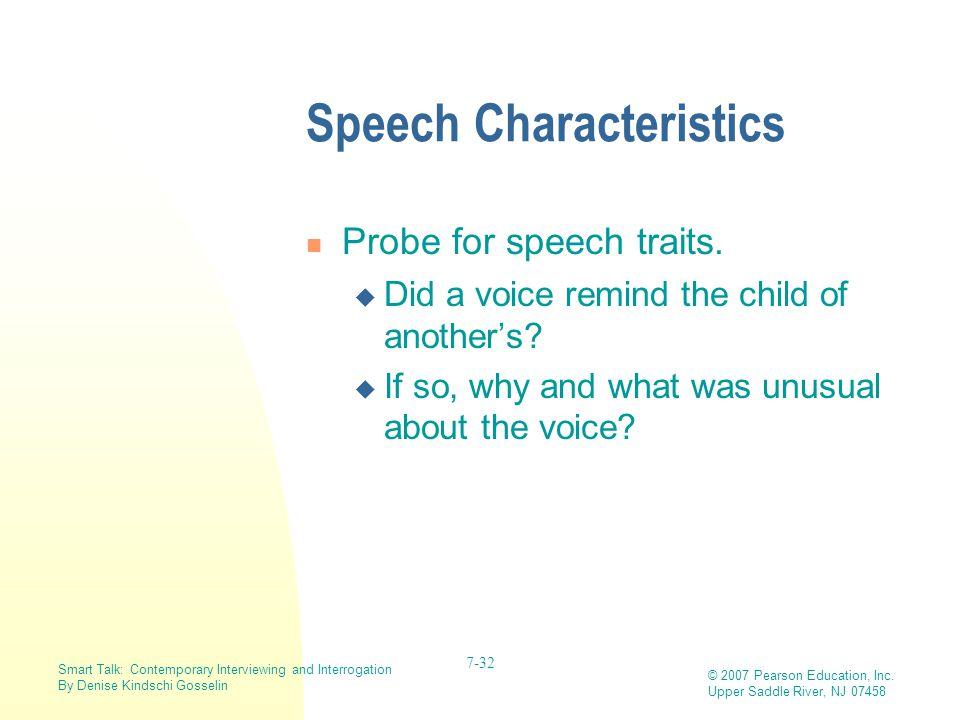 Speech Characteristics