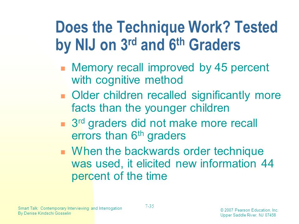 Does the Technique Work Tested by NIJ on 3rd and 6th Graders