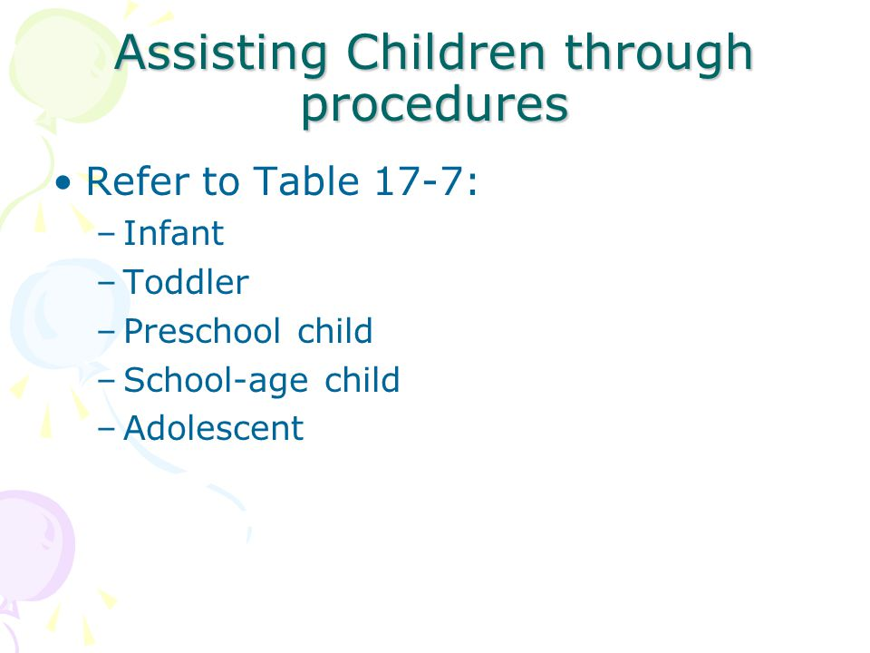 Assisting Children through procedures