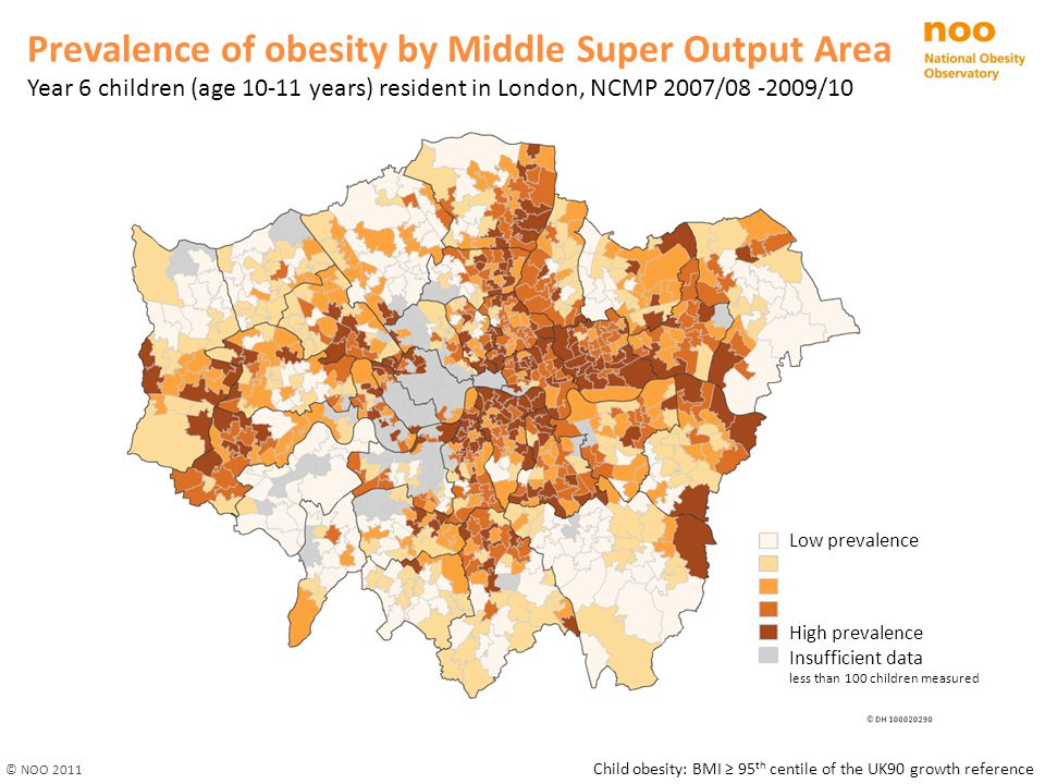 Prevalence of obesity by Middle Super Output Area
