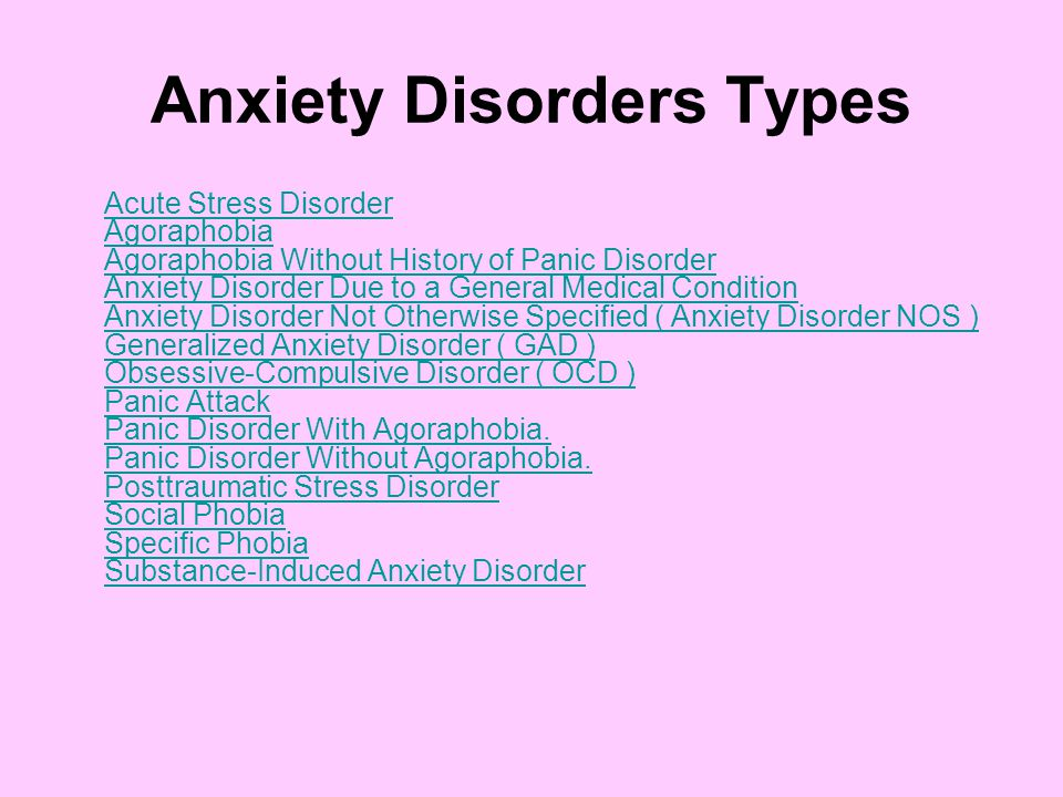 Anxiety Disorders Types