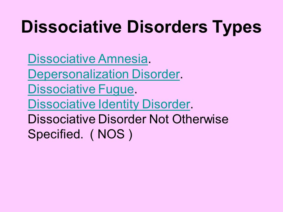 Dissociative Disorders Types