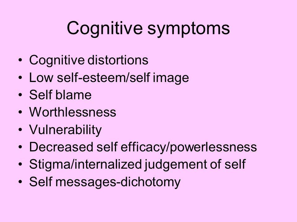 Cognitive symptoms Cognitive distortions Low self-esteem/self image
