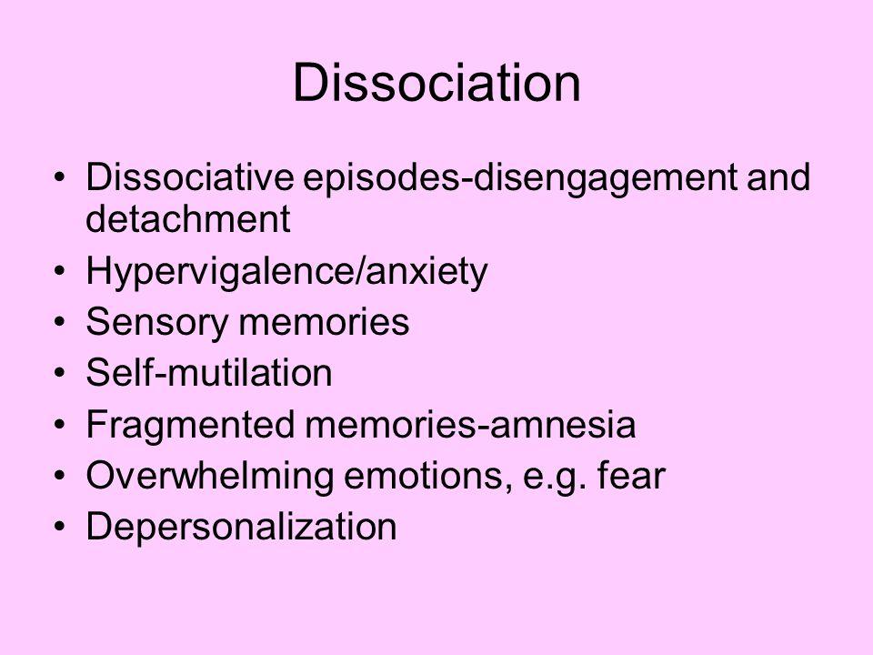 Dissociation Dissociative episodes-disengagement and detachment