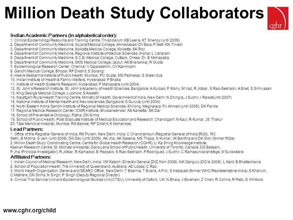Million Death Study Collaborators