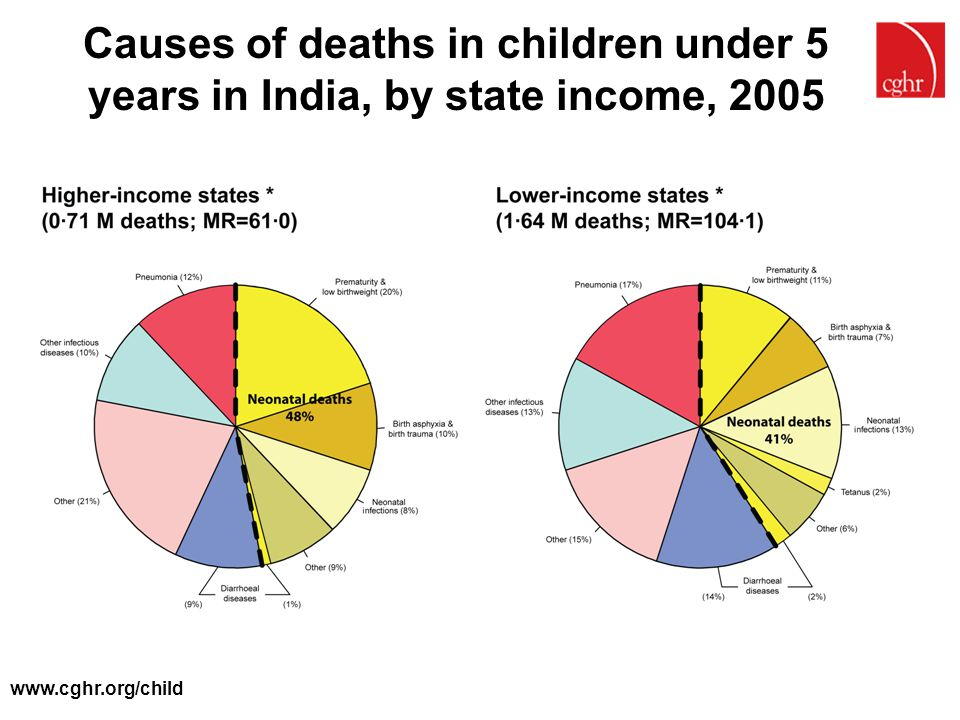 Causes of deaths in children under 5 years in India, by state income, 2005
