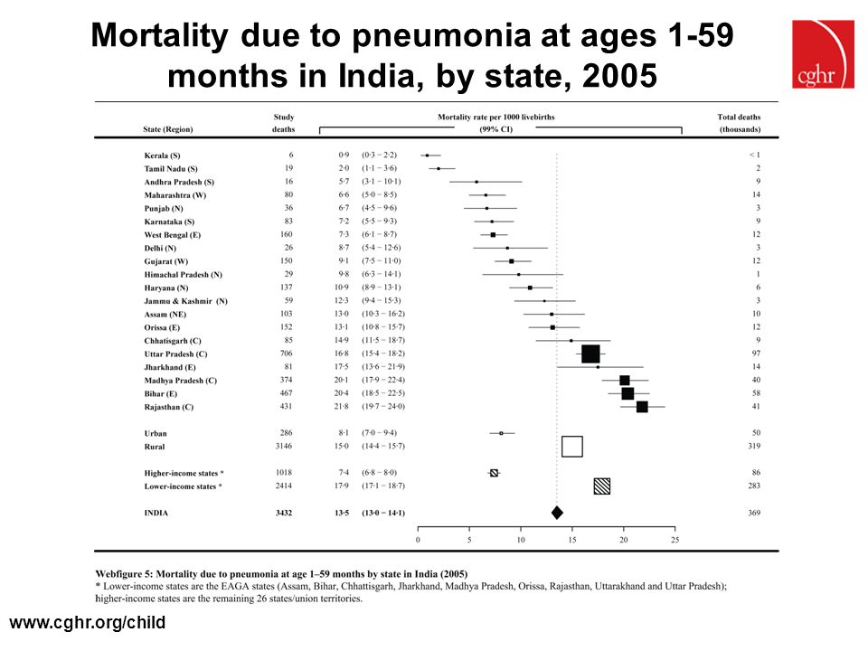 Mortality due to pneumonia at ages 1-59 months in India, by state, 2005