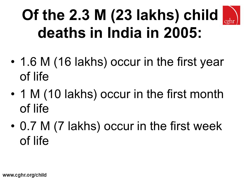 Of the 2.3 M (23 lakhs) child deaths in India in 2005: