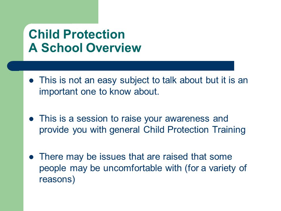 Child Protection A School Overview