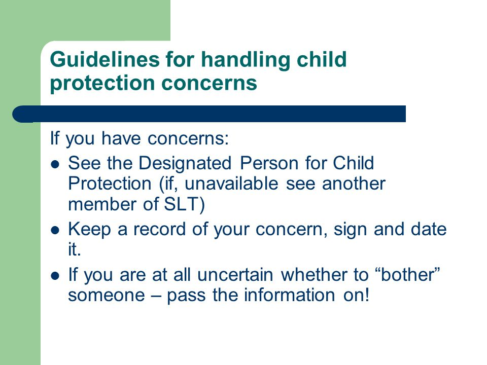 Guidelines for handling child protection concerns