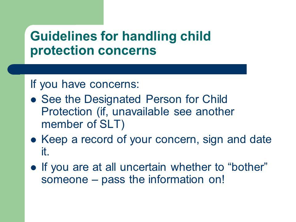 Guidelines for handling child protection concerns