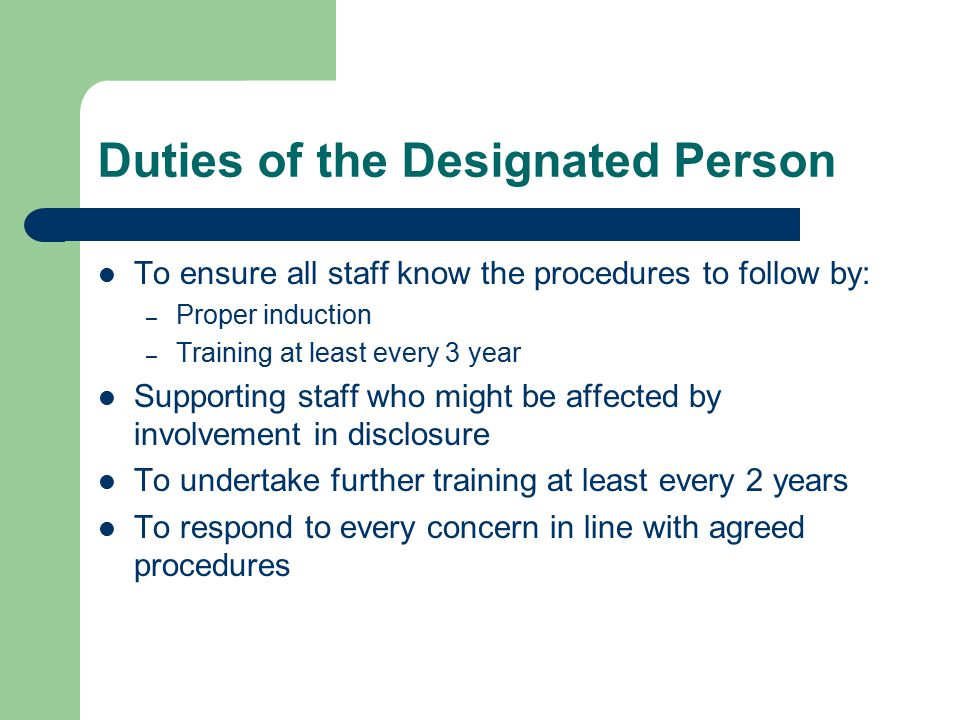 Duties of the Designated Person