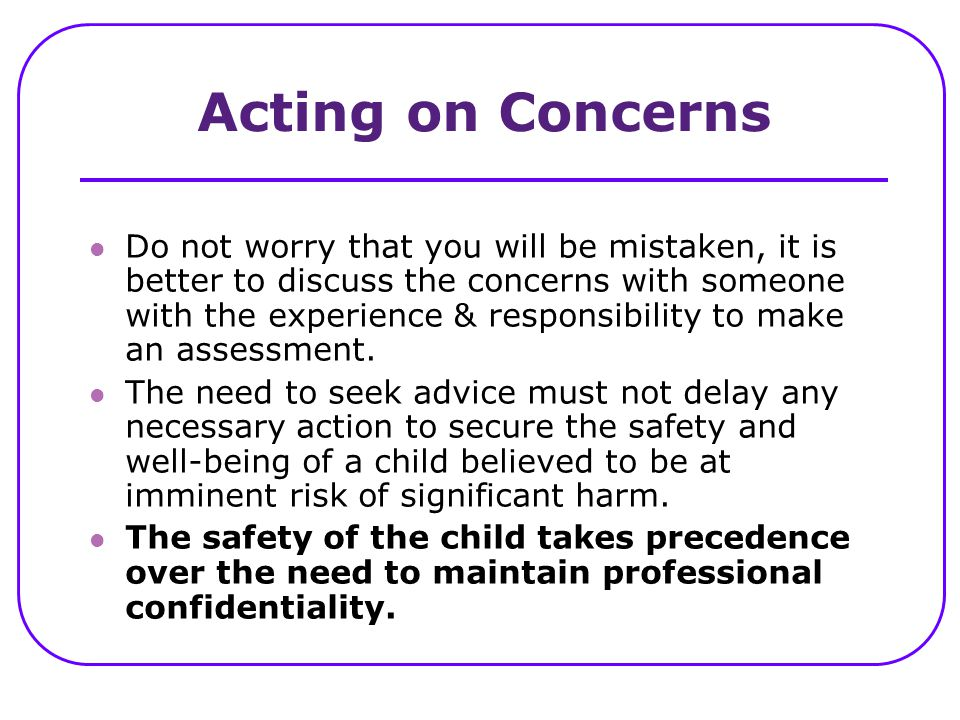 Acting on Concerns