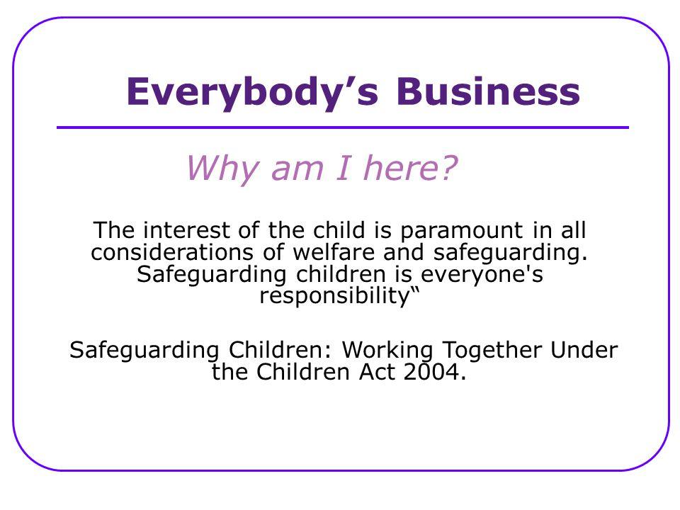 Safeguarding Children: Working Together Under the Children Act 2004.