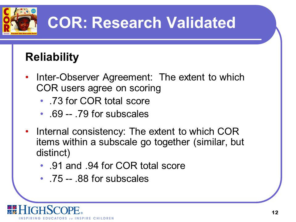 COR: Research Validated
