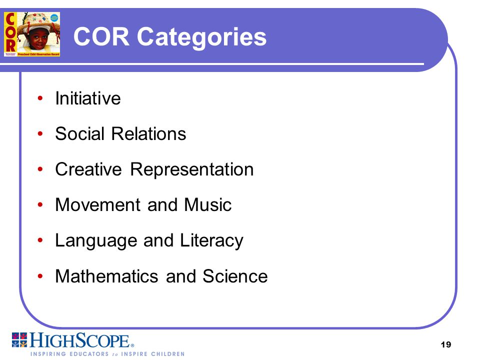 COR Categories Initiative Social Relations Creative Representation