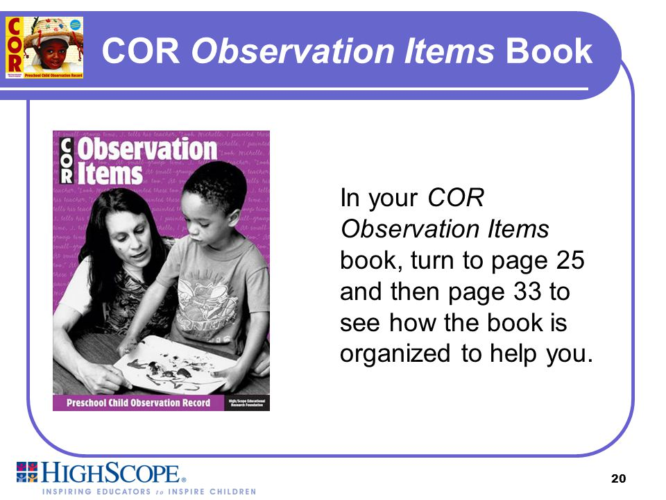 COR Observation Items Book