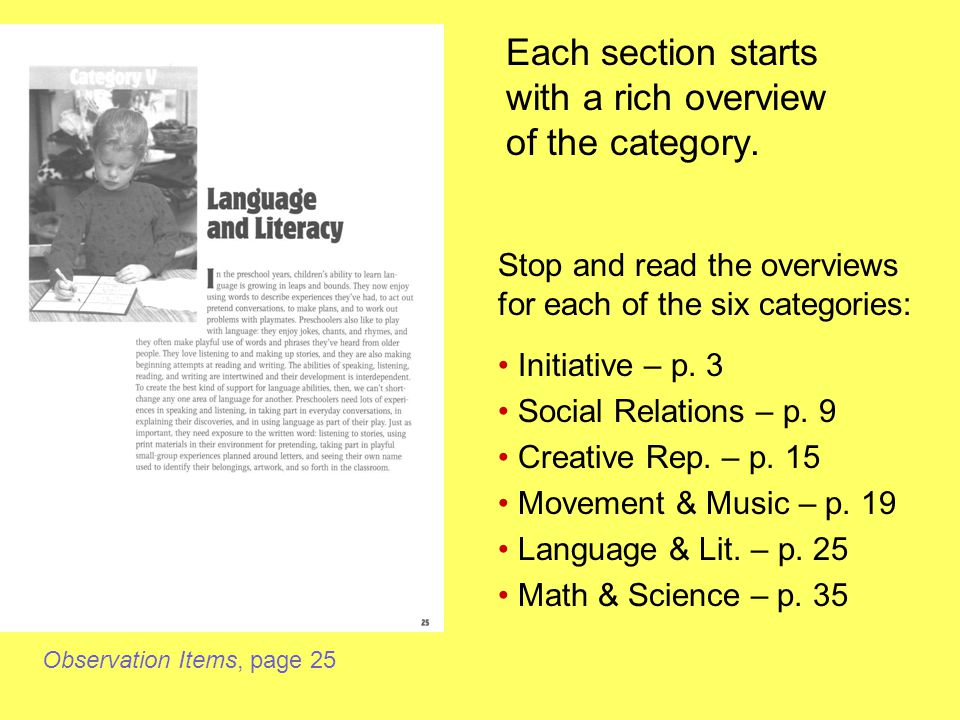 Each section starts with a rich overview of the category.