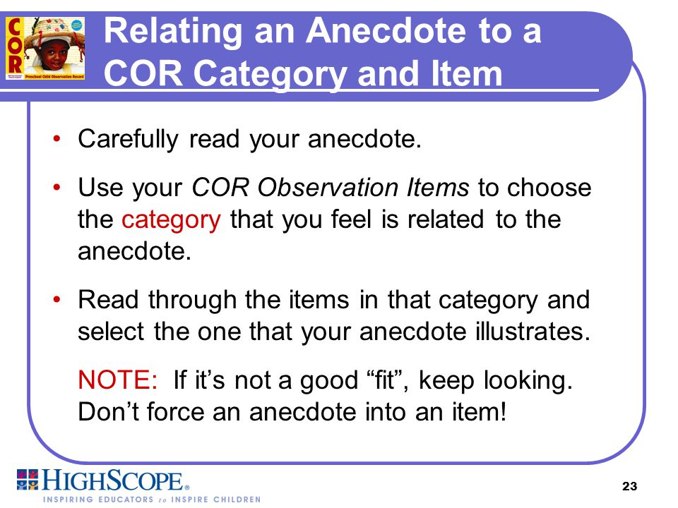 Relating an Anecdote to a COR Category and Item