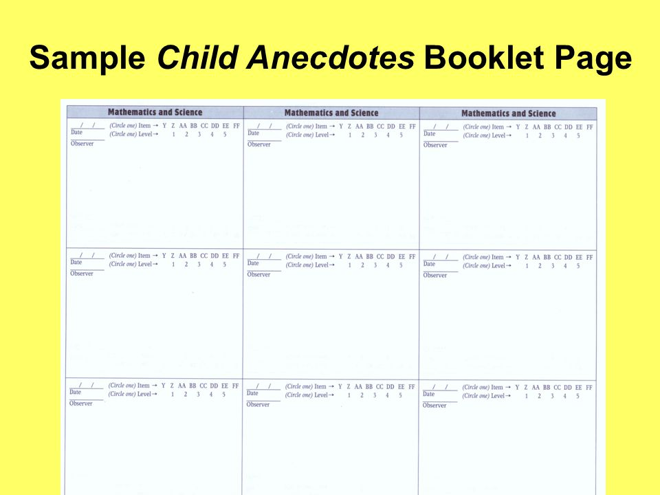 Sample Child Anecdotes Booklet Page