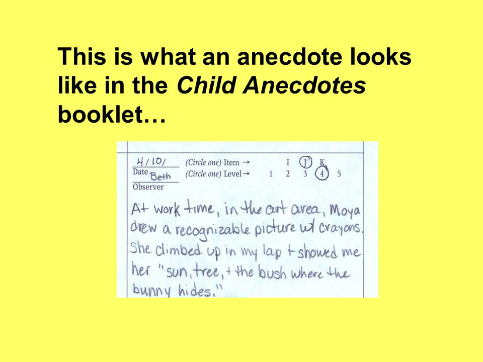 This is what an anecdote looks like in the Child Anecdotes booklet…