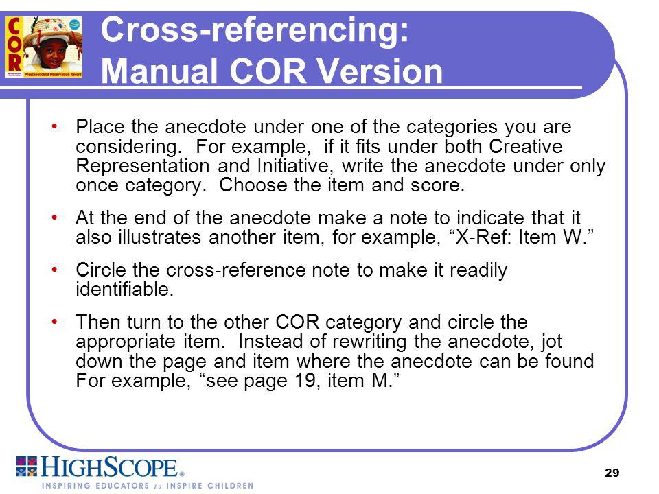 Cross-referencing: Manual COR Version