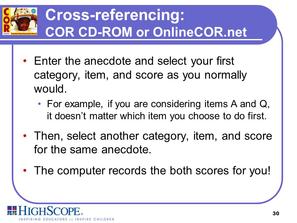 Cross-referencing: COR CD-ROM or OnlineCOR.net